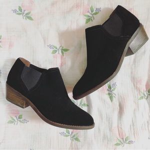 Lucky Brand black suede leather ankle boots